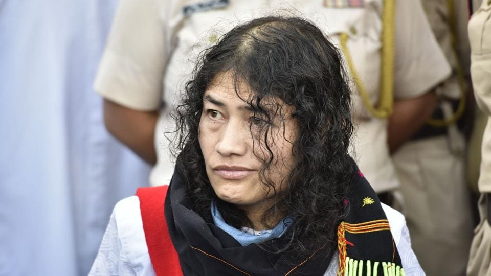 Irom Sharmila after she broke her fast in August 2016.