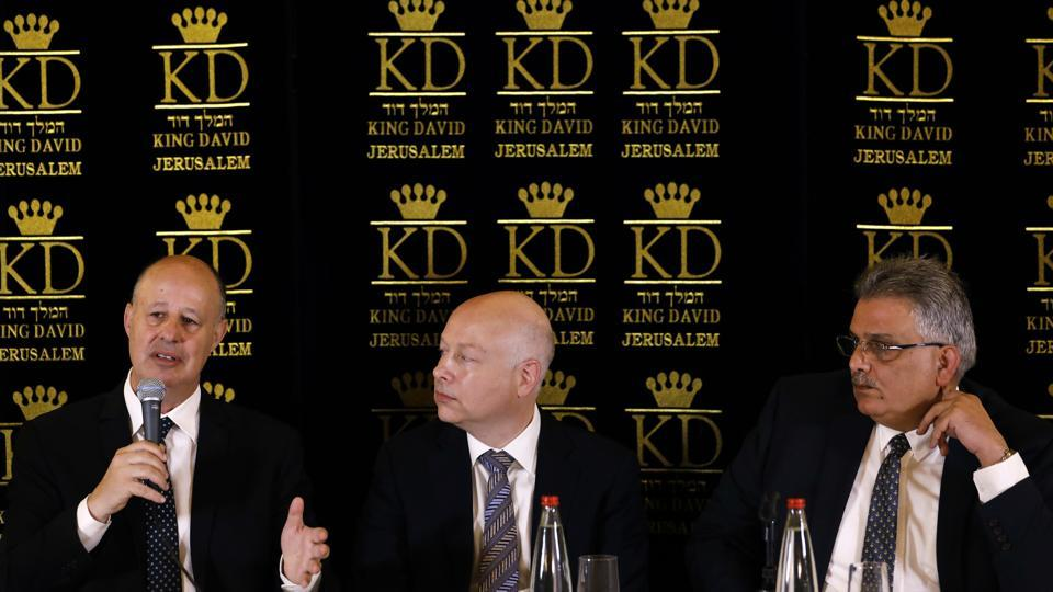 US President Donald Trump's Middle East envoy, Jason Greenblatt, center, Israeli Minister of Regional Cooperation Tzachi Hanegbi, left, and the head of the Palestinian Water Authority, Mazen Ghoneim give a news conference about a water-sharing agreement, in Jerusalem on July 13, 2017.