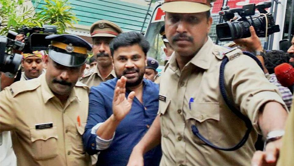 Malayalam actor Dileep, who was arrested in connection with the abduction and assault of a south Indian actress, being produced before a court that has sent him to 14 days judicial custody, in Kochi on Tuesday.