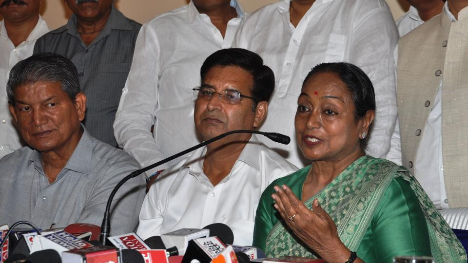 The opposition's presidential candidate Meira Kumar (right) addresses the media in Dehradun on Thursday.