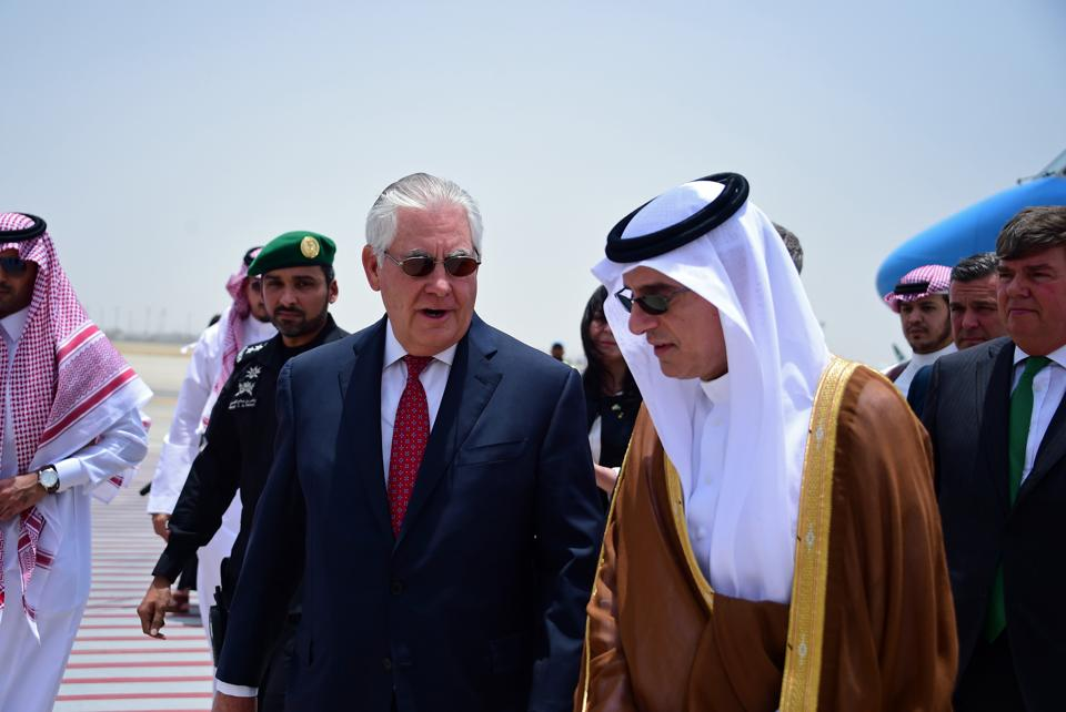 US secretary of state Rex Tillerson is welcomed by Saudi foreign minister Adel al-Jubeir upon his arrival in Jeddah on July 12, 2017.
