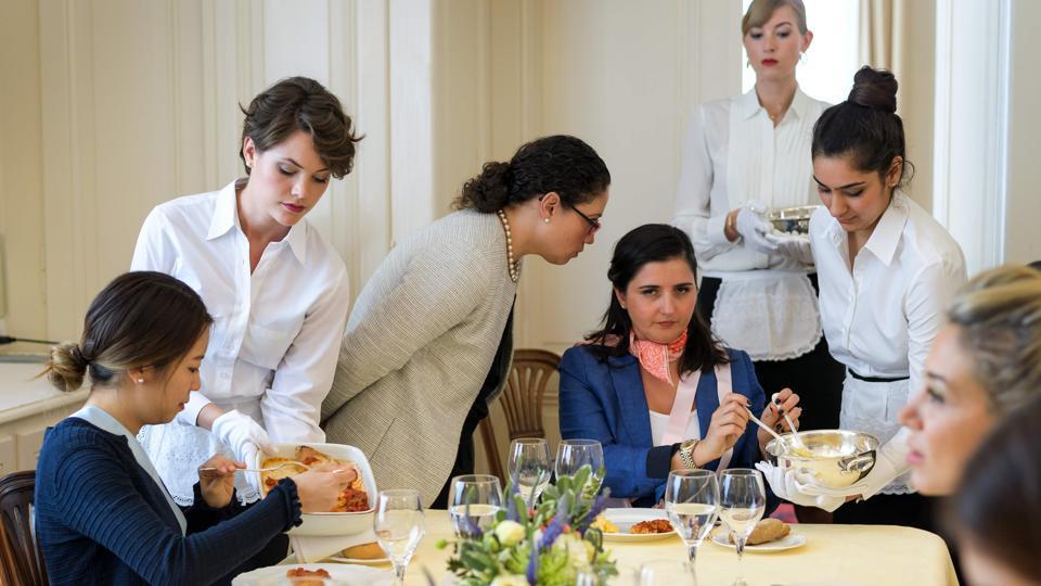 Women learn dining etiquette at Switzerland's last finishing school, Institut Villa Pierrefeu  in Glion, Switzerland
