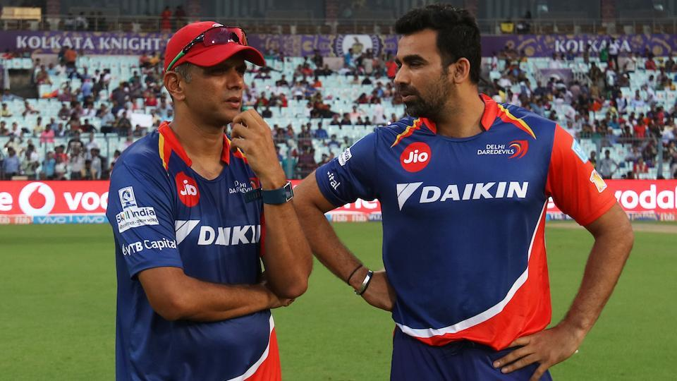 Delhi Daredevils coach Rahul Dravid (left) with captain Zaheer Khan during a 2017 Indian Premier League at the Eden Gardens Stadium in Kolkata on April 23. Dravid and Zaheer will now be the bowling and batting coaches of Indian cricket team