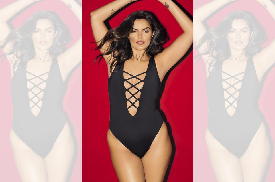 Half-American half-Punjabi model, Liza Golden-Bhijwani proudly flaunts her plus-size today; Make-up and hair by Cassandra Kehren; Liza Golden-Bhojwani wears a one-piece swimsuit from Elizabeth Jane Swimwear