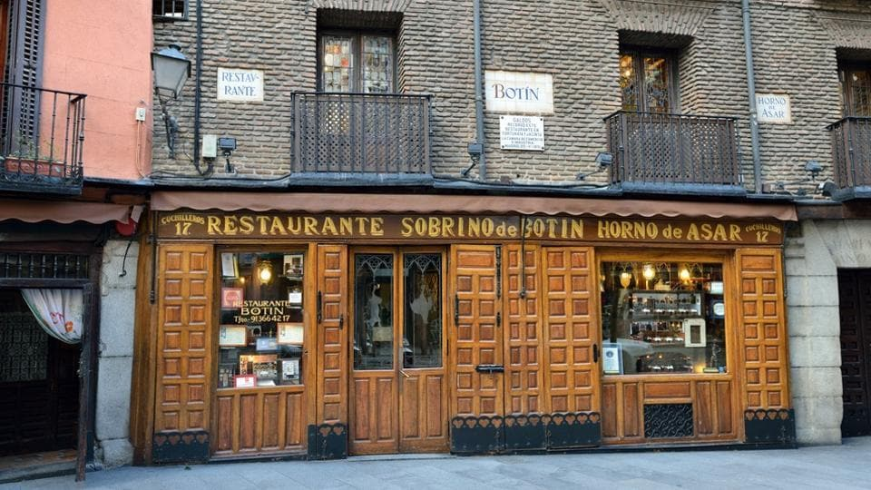 Sobrino de Botin in Madrid, Spain, is oldest restaurant in world and was founded by a French man Jean Botin in 1725. Ernest Hemingway often visited Botin when in Spain.