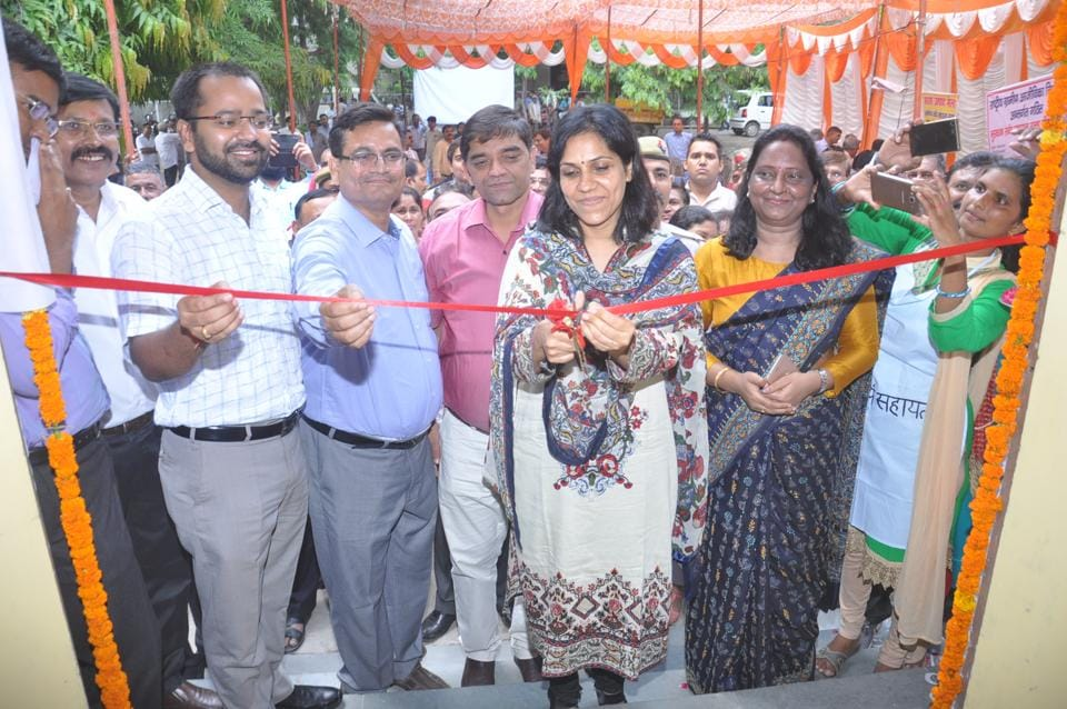 Ghaziabad district magistrate Ministhy S inaugurates the canteen to be run by an all-women self-help group, on Friday.