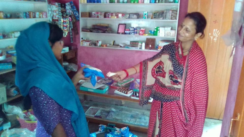Bhawna Jha (right) who owns and runs one such Rangoli shop in Saurath village of Bihar's Madhubani district.