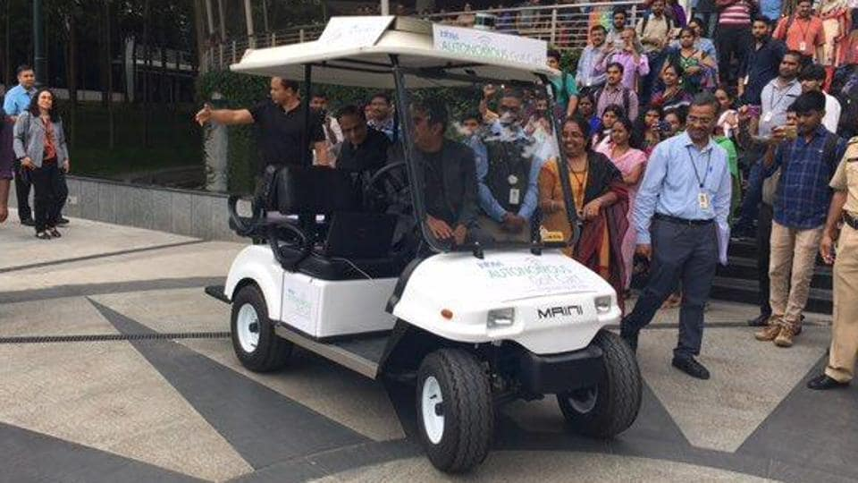 Vishal Sikka arrives at the Infosys campus in Bengaluru in an automated golf cart.