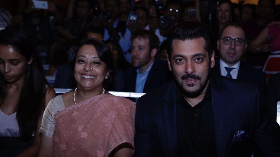 Ambassador Riva Ganguly Das and actor Salman Khan during a press conference of IIFA 2017 in New York. (IANS)