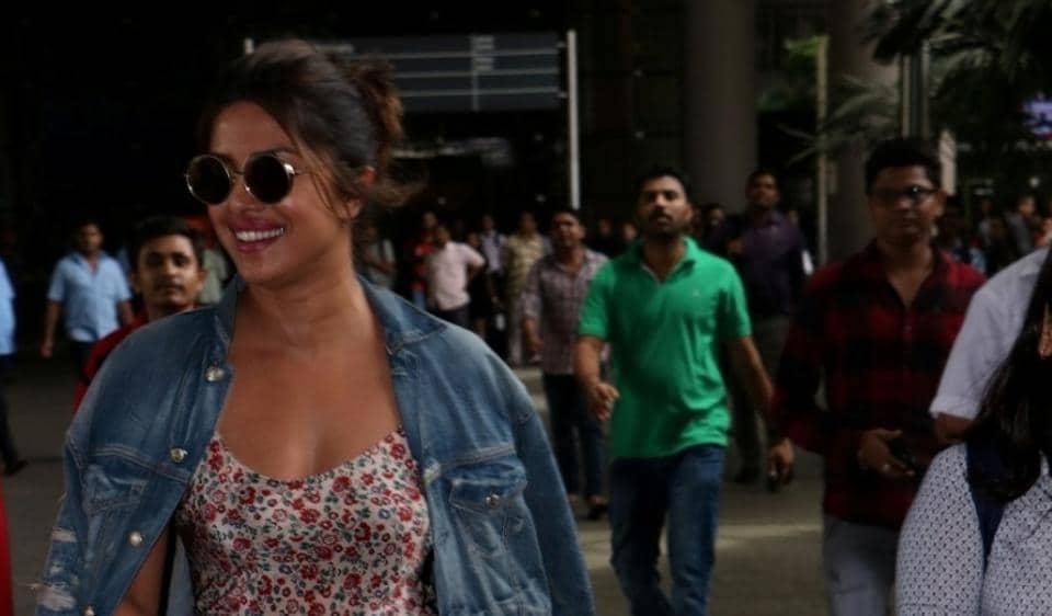 Actress Priyanka Chopra at Chhatrapati Shivaji Maharaj International Airport in Mumbai on July 13, 2017. (Photo: IANS)
