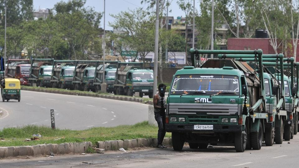 The municipal corporation's garbage collection vehicles lined up outside the Jaypee plant at Dadumajra in Chandigarh on Thursday.