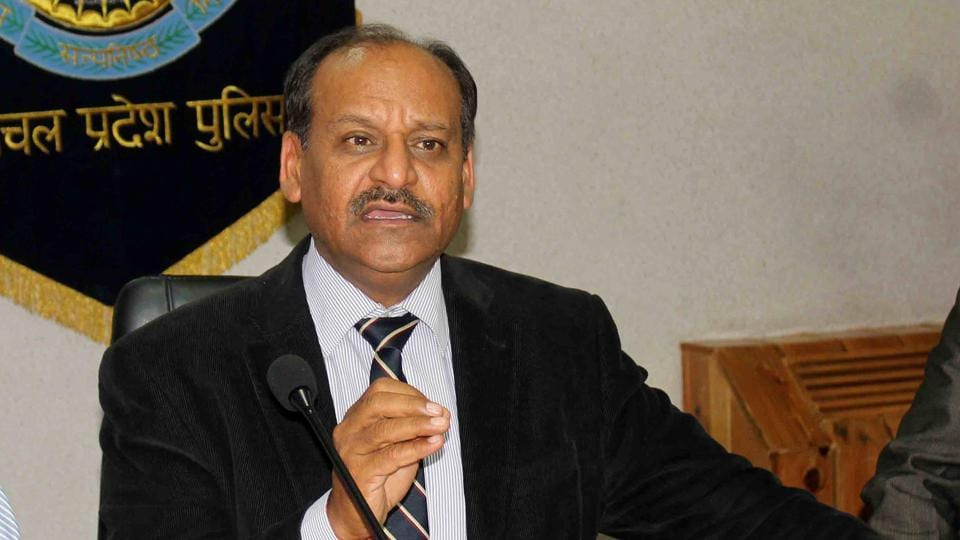 Himachal Pradesh director general of police (DGP) Somesh Goyal addressing the media during a press conference at police headquarters in Nigam Bihar, Shimla, on Thursday.