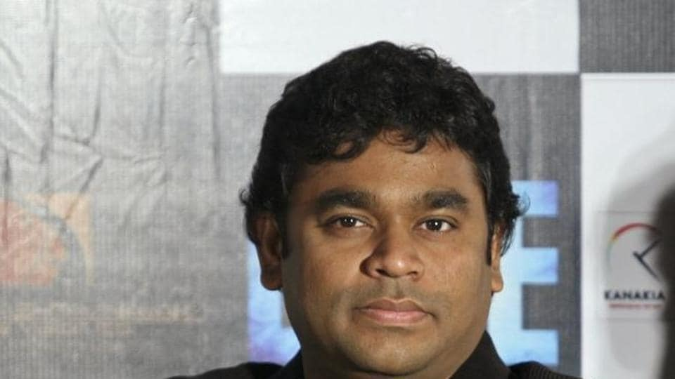Oscar winning music director AR Rahman poses for a picture during a news conference.