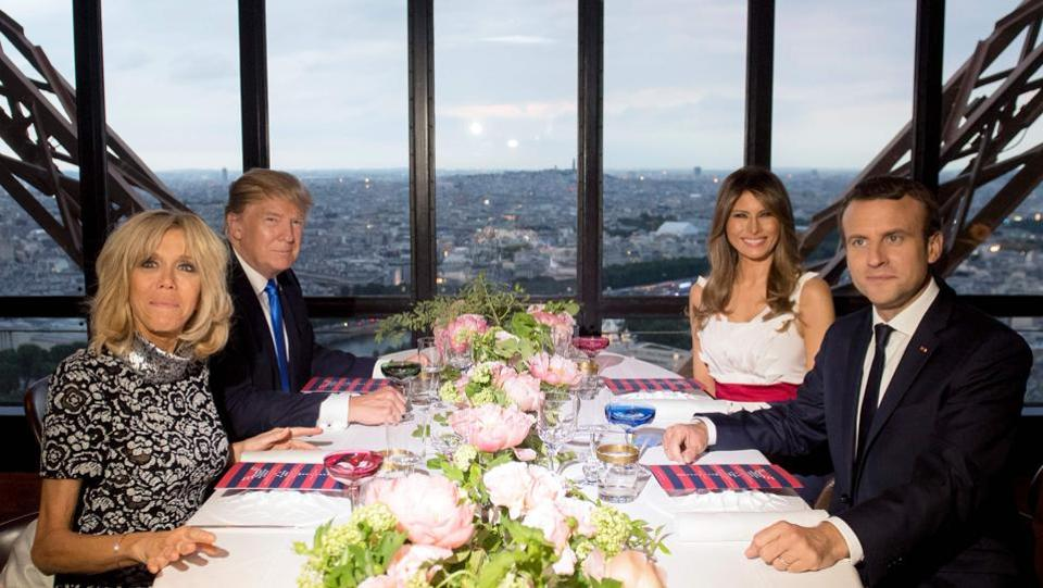 The Macrons also departed from protocol, hosting the Trumps at the Michelin starred JuIes Verne restaurant on the second floor of the Eiffel Tower instead of the customary dinner at the Élysée Palace. Trump had remarked after a string of attacks on the 'City of Lights' that 'Paris is no longer Paris'. (Saul Loeb / AFP)