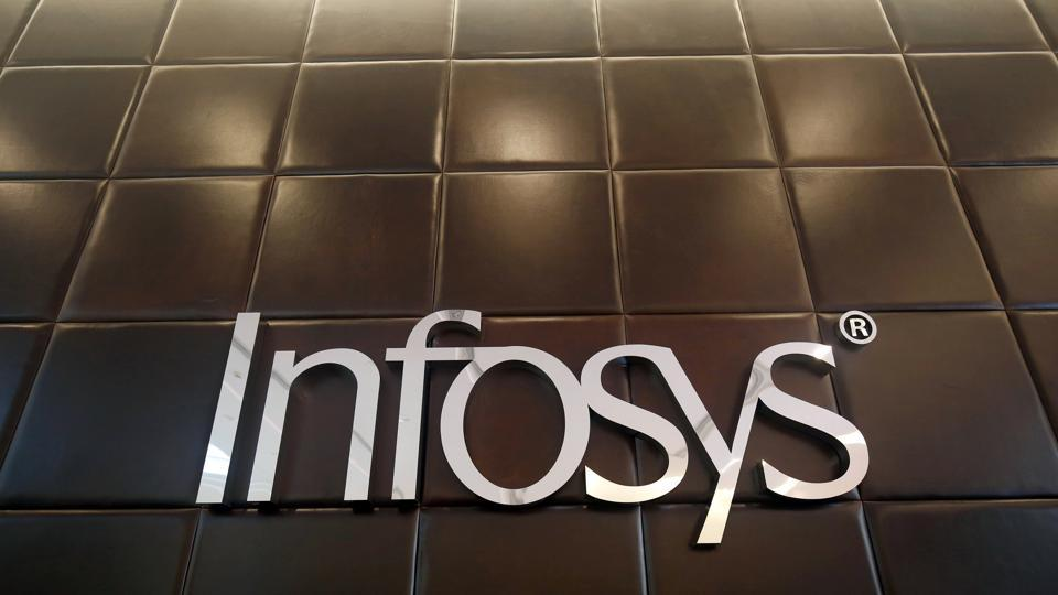 The logo of Infosys is pictured inside the company's headquarters in Bengaluru.
