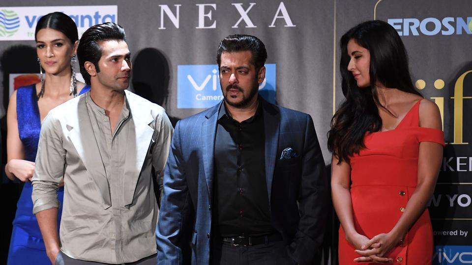 Kriti Sanon, Varun Dhawan, Salman Khan and Katrina Kaif pose during a press conference ahead of the 18th International Indian Film Academy (IIFA) Festival, in New York City. (AFP)