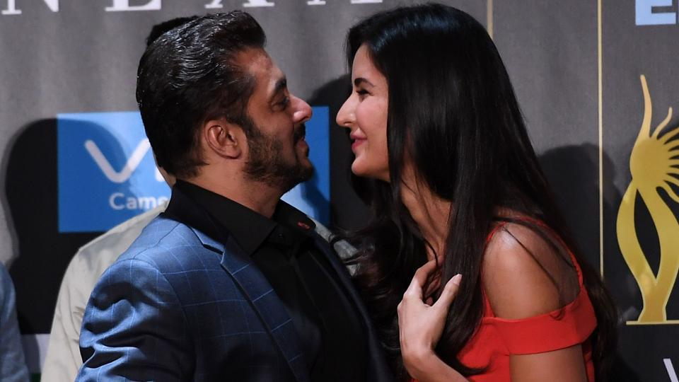 Salman Khan greets Katrina Kaif during a press conference ahead of the 18th International Indian Film Academy (IIFA) Festival in New York City.