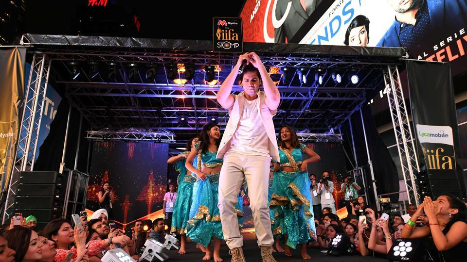 Varun Dhawan performs on stage during the IIFA Stomp in Times Square on July 13 to kick off the 18th International Indian Film Academy (IIFA) Festival in New York. (AFP)