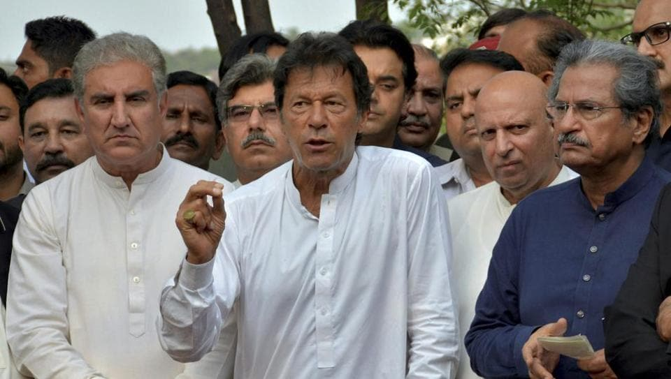 Pakistani opposition leader Imran Khan addresses a news conference regarding the Joint Investigation Team's reports against the Prime Minister Nawaz Sharif, in Islamabad, Pakistan,July 11, 2017.