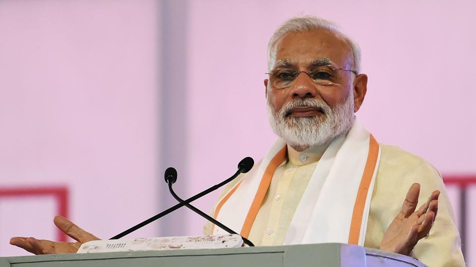 Narendra Modi gives a speech during an event marking the 100th anniversary of Sabarmati Ashram in Ahmedabad on June 29, 2017.