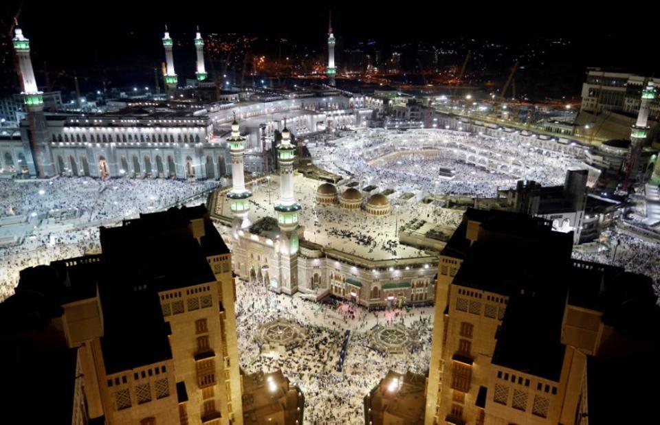 The Kaaba at the Grand Mosque in Mecca, Saudi Arabia.