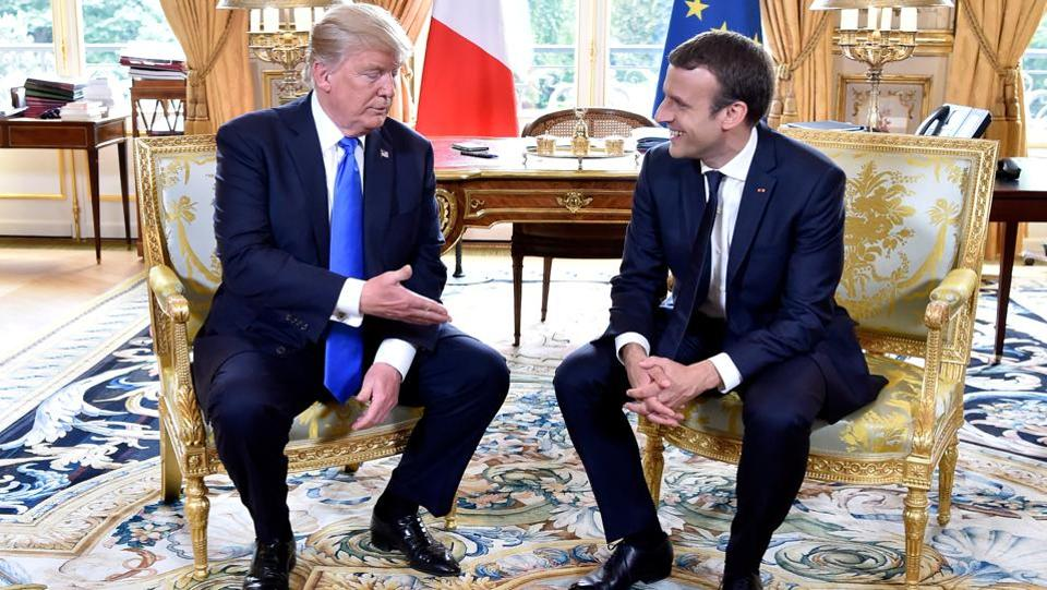 Trump  acknowledged that the two nations have a history that dates far back to the American Revolution. The two leaders spoke on working towards a common path on the issues of Syria and countering global terrorism. (Alain Jocard / Reuters)