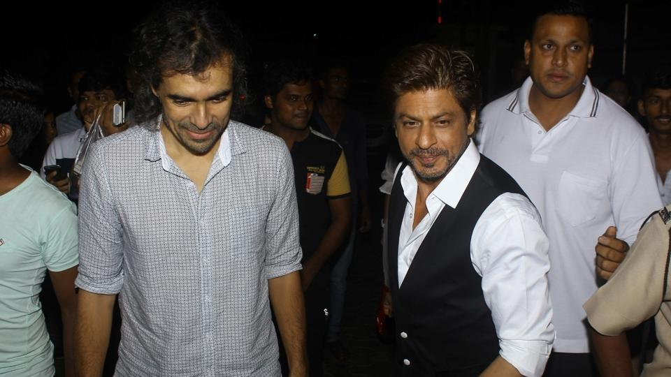 Filmmaker Imtiaz Ali and actor Shah Rukh Khan during the screening of film Tubelight in Mumbai.