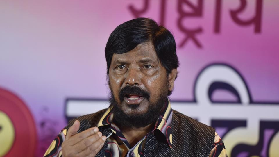 Ramdas Athawale during press conference at Bandra in Mumbai.