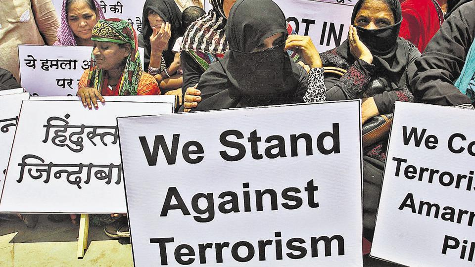 A protester at a rally in Thane, Mumbai, July 12, against the attack on civilians on a pilgrimage to Amarnath