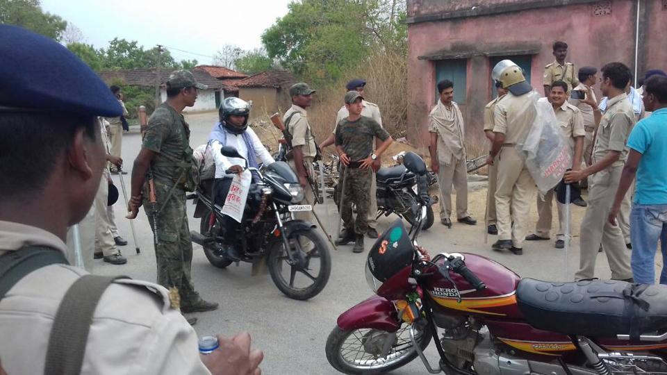 Police force deployed at Sobhapur village under Rajnagar police station  on Thursday, May 18, 2017.