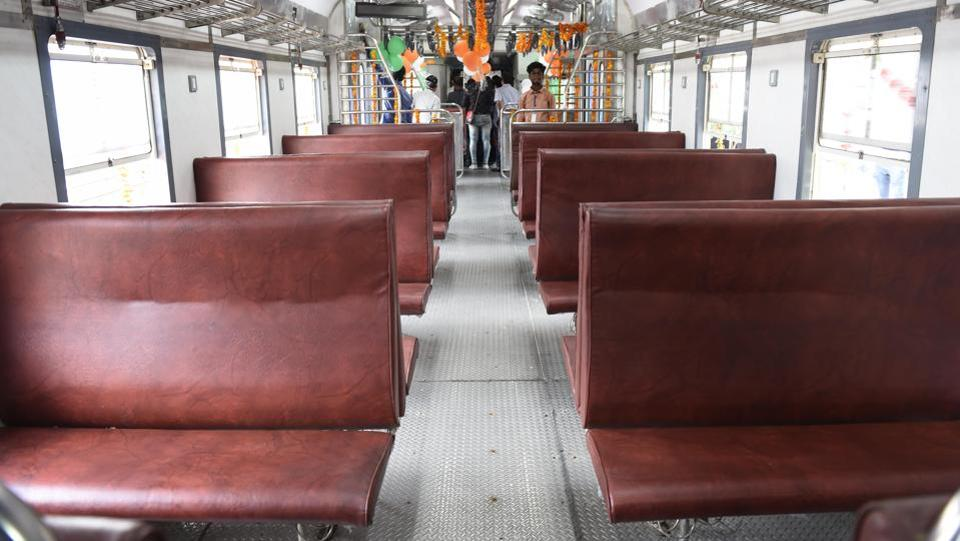 Cushioned seats have been provided along with a display board in each coach. There has been no change in the fare and the journey will take nearly one-and-half hours.  (Arvind Yadav/HT PHOTO)