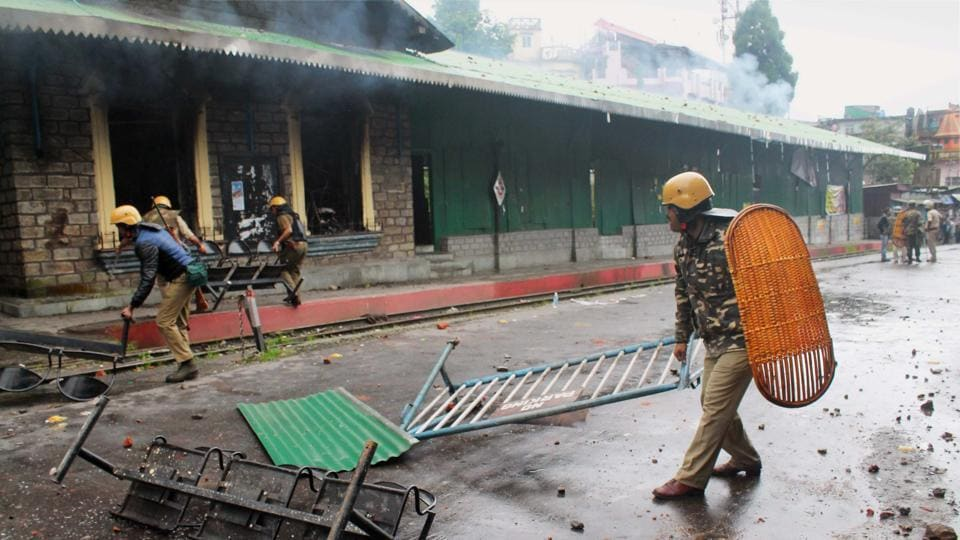 Security personnel after a violent protest by GJM supporters in Darjeeling.
