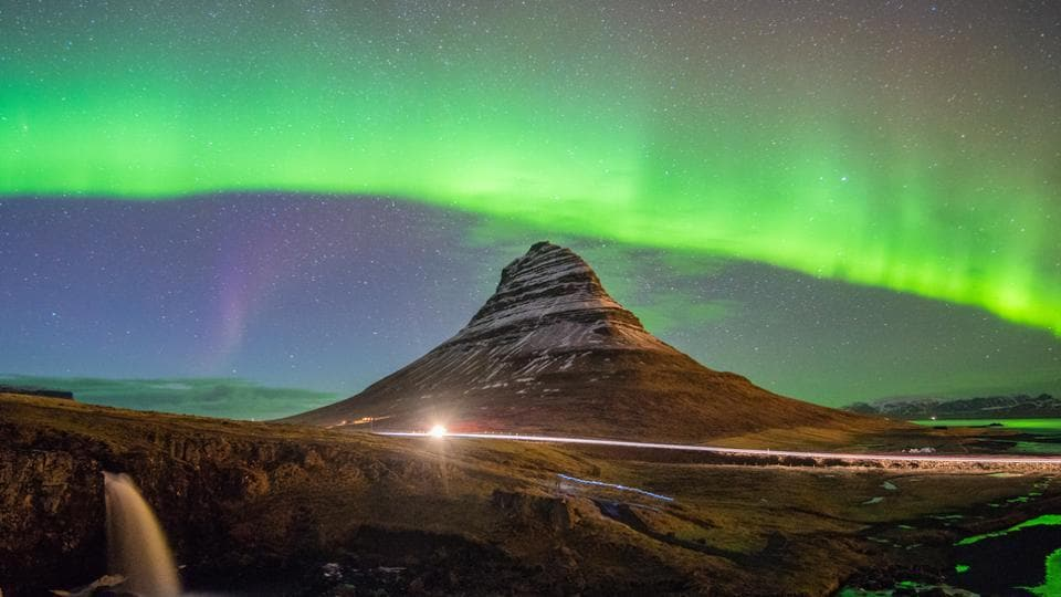 The northern lights at Kirkjufell in Iceland.