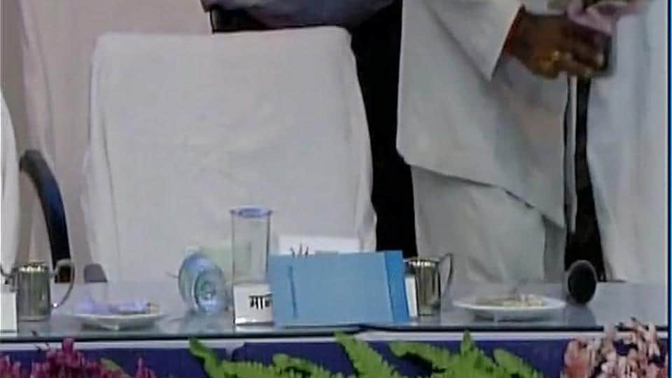 The name plaque for Bihar's deputy chief minister Tejashwi Yadav that was covered with cloth. (Photo: ANI Twitter)