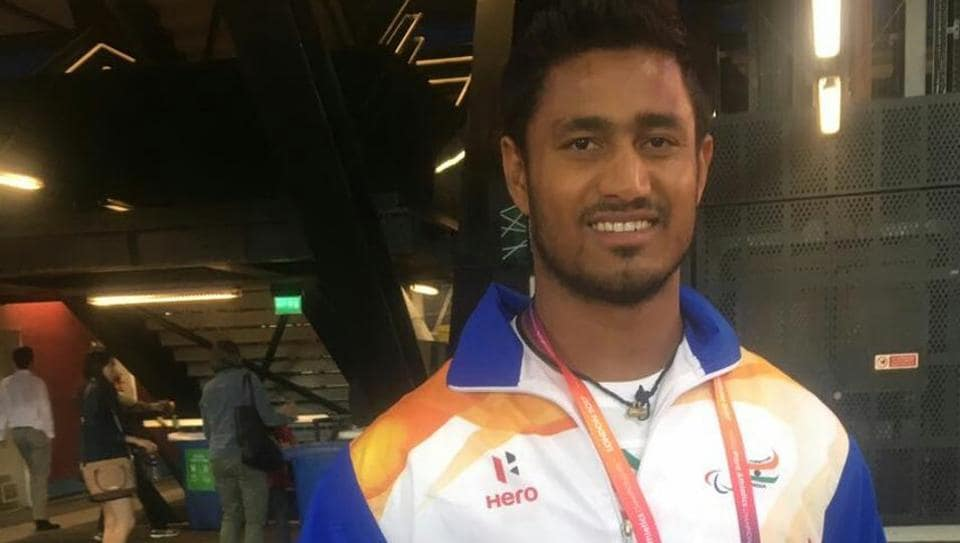 Sundar Gurjar is all smiles after winning the gold medal in javelin throw at the Para Athletics World Championship.