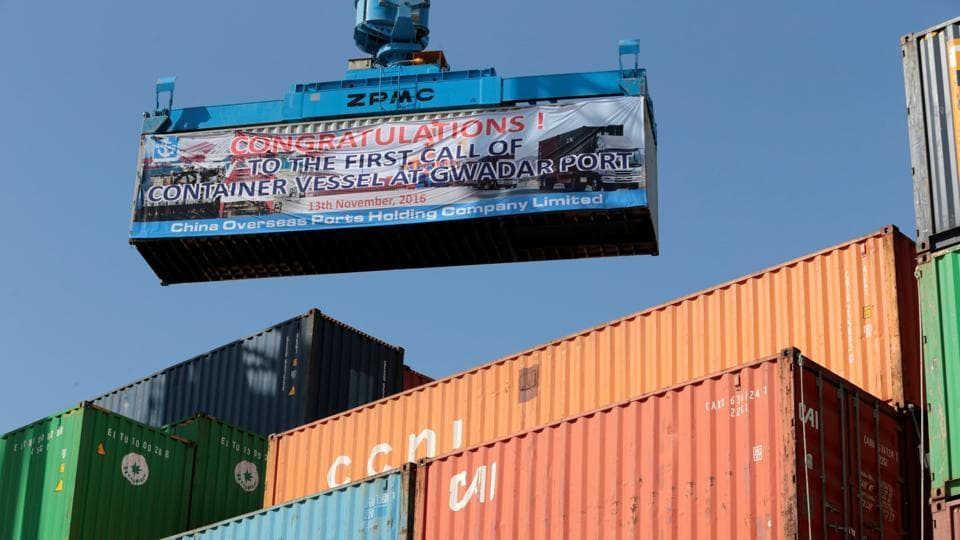 A container is loaded on to the first Chinese container ship to depart after the inauguration of the China Pakistan Economic Corridor port in Gwadar, Pakistan November 13, 2016.