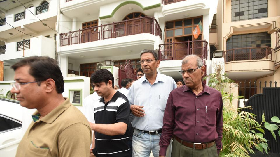 Residents meet Noida MLA Pankaj Singh.