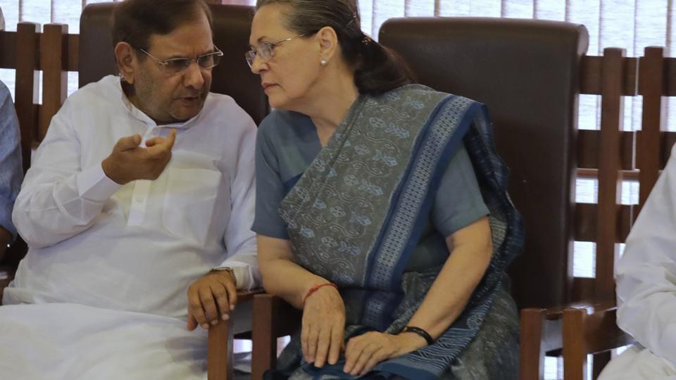 File photo of senior JD(U) leader Sharad Yadav and  Congress chief Sonia Gandhi.