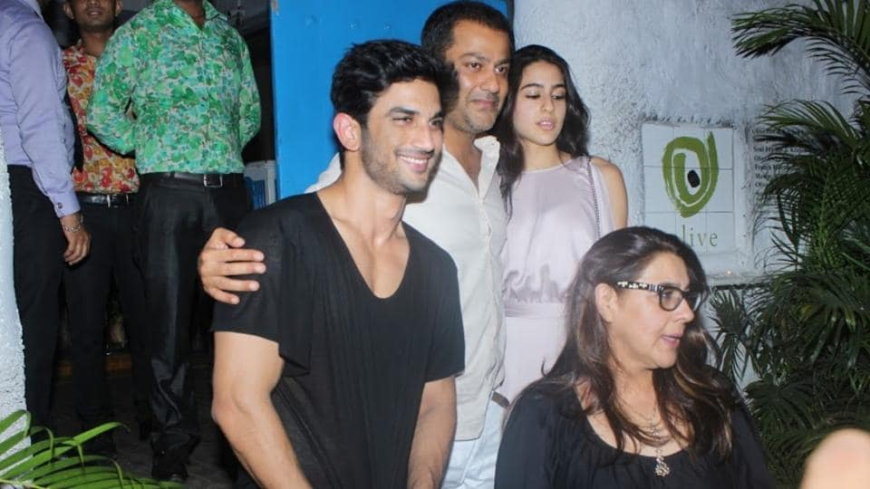 Sara Ali Khan with mom Amrita Singh met filmmaker Abhishek Kapoor and actor Sushant Singh Rajput at Olive Bar & Kitchen on June 04.