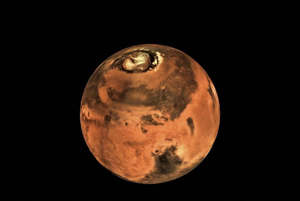 Photo released by Isro on June 19, 2017,  taken by the Mars Colour Camera (MCC) onboard India's Mars Orbiter Spacecraft.