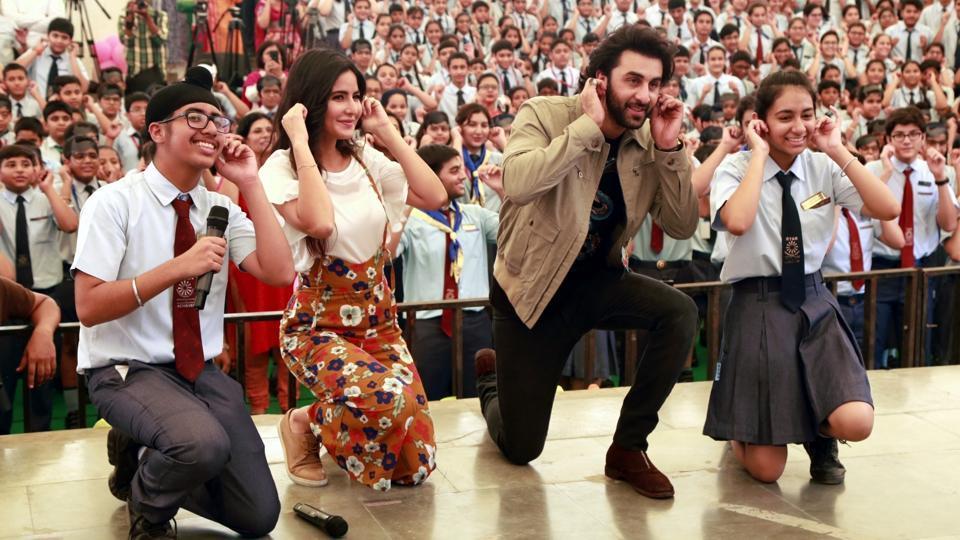Ranbir Kapoor and Katrina Kaif during a programme to promote Jagga Jasoos in Mumbai.