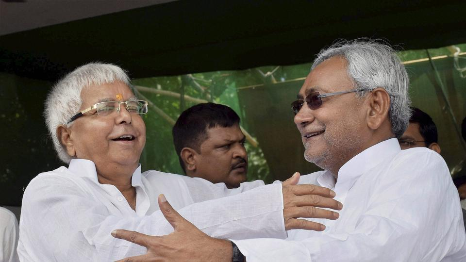 File photo of RJD chief Lalu Prasad and Bihar chief minister and JD(U)  leader Nitish Kumar. Ties between the two parties have come under strain following graft charges  against deputy chief minister and Prasad's younger son Tejashwi Yadav.