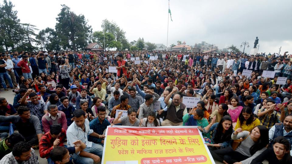 People protesting against rape and murder of a minor girl in Shimla on June 15.