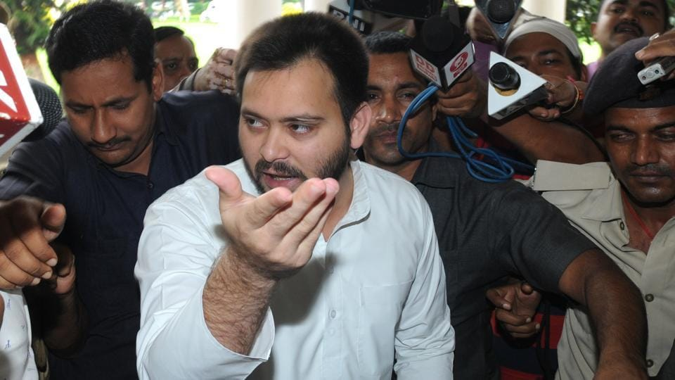 Dy CM Tejaswi Yadav arrived for cabinet meeting in Patna Bihar India. (A P Dube / HT Photo)
