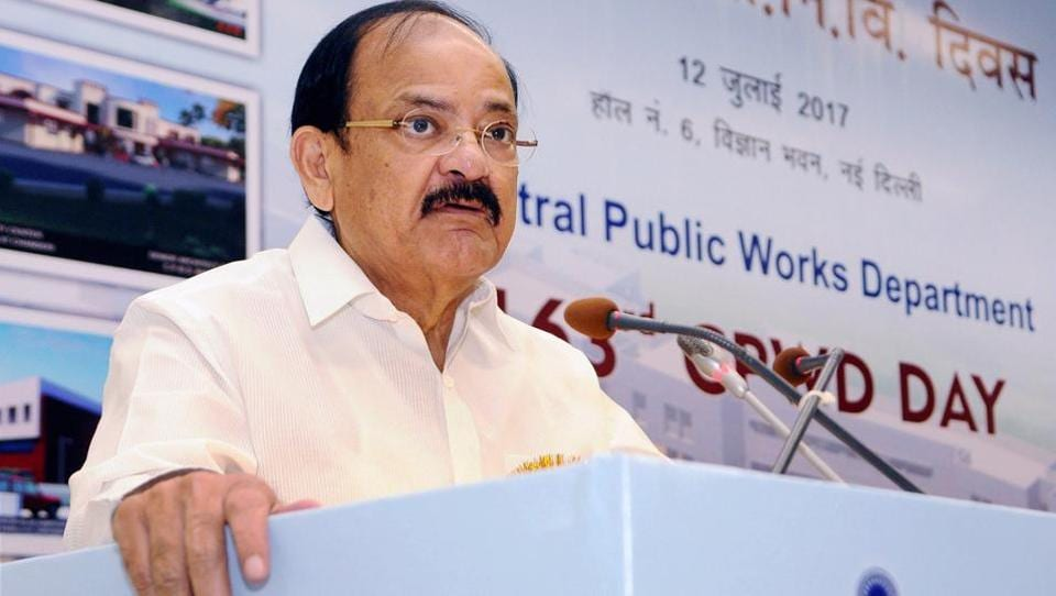 Union minister M Venkaiah Naidu addresses the 163rd Annual Day of Central Public Works Department (CPWD) function in New Delhi. Sources say he could become the NDA's vice presidential candidate.