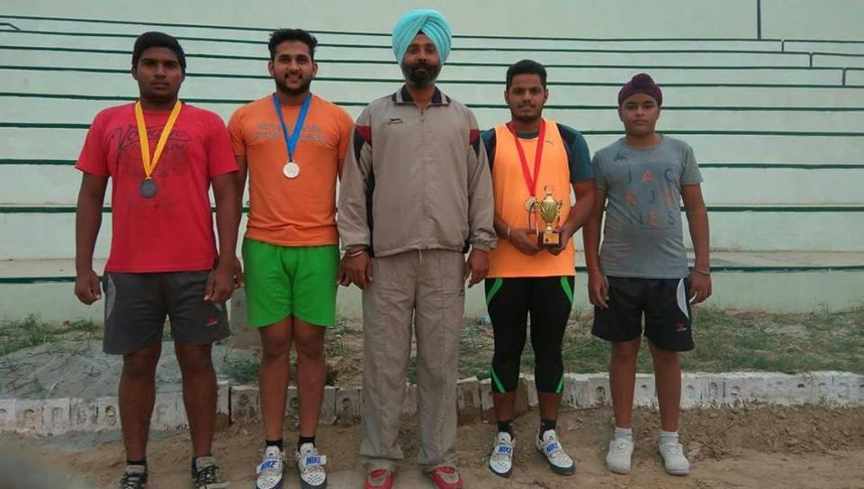 Hammer throw coachSukhraj Singh Batth with his wards.