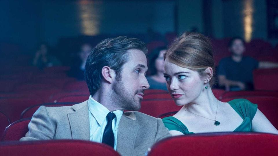 Ryan Gosling and Emma Stone in a still from the film.