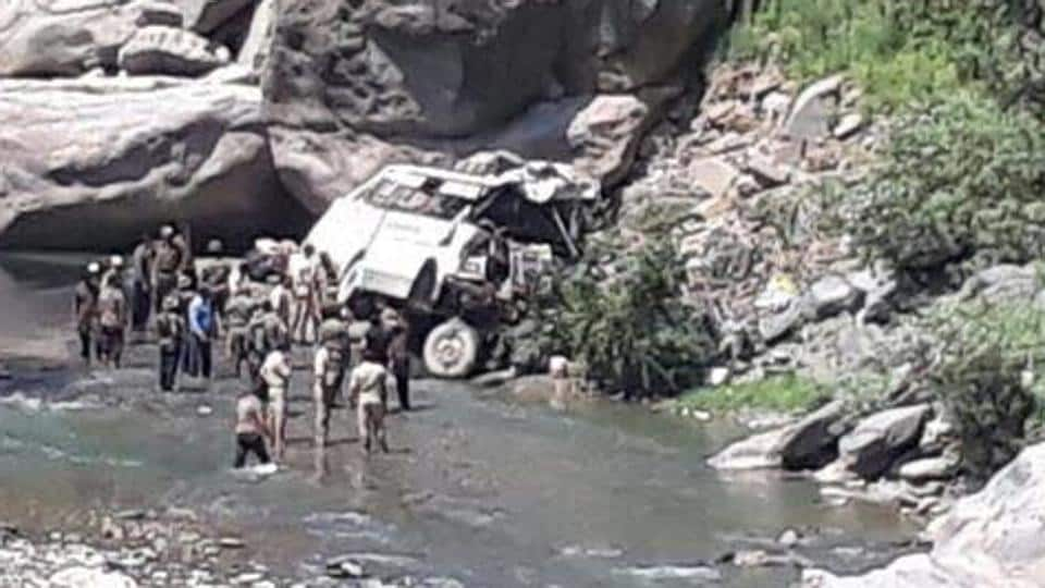 At least 16 Amarnath pilgrims were killed when a bus skidded off the Jammu-Srinagar national highway.