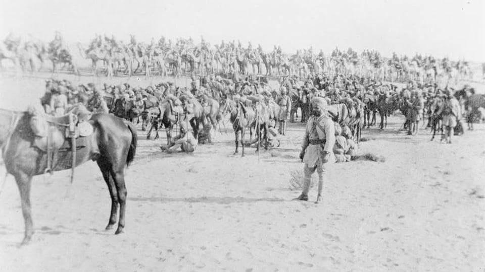 Mysore and Bengal Lancers with Bikanir Camel Corps in the Sinai Desert, 1915.