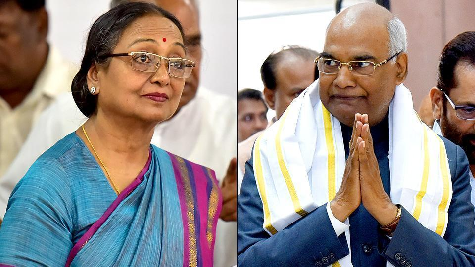 File photo of NDA's presidential nominee Ram Nath Kovind and Opposition's candidate Meira Kumar.